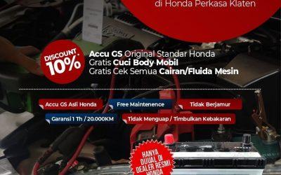 Promo Accu GS Asli Honda diskon 10%